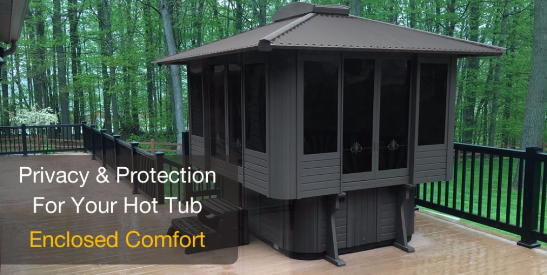 Spa gazebos hot tub enclosures tiny houses kits for sale for Cal spa gazebo