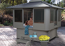 Spa gazebos hot tub enclosures tiny houses kits for sale for Hot tub enclosures plans