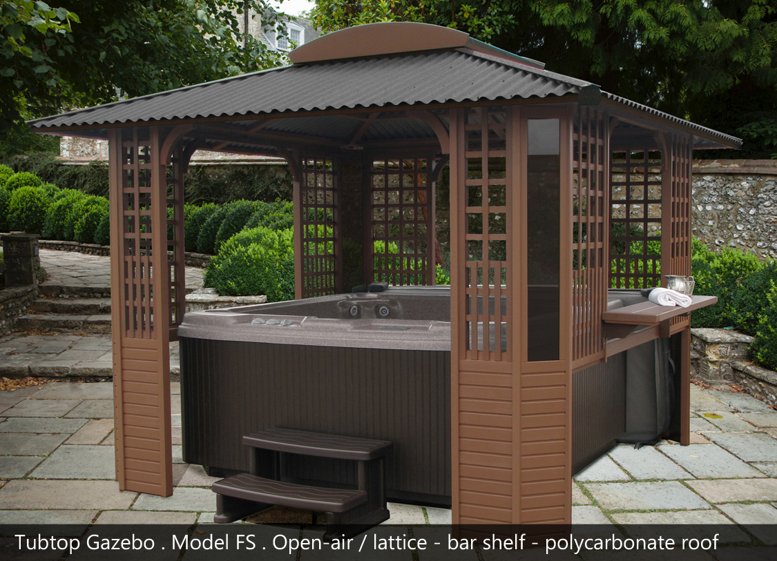 Freestanding tubtop spa gazebos and hot tub enclosures by sequoia spa shelters - Enclosed gazebo models ...